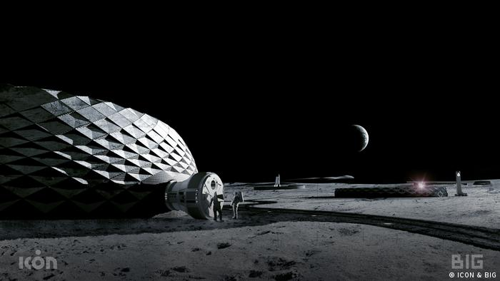 An impression of how a 3D-printed construction may look on the moon