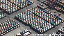 HAMBURG, GERMANY - APRIL 24: This aerial view shows hundreds of containers stored at the EUROKAI KGaA container terminal at the Hamburg harbour on April 24, 2010 in Hamburg, Germany. German business confidence rose more than economists forecast to a two-year high in April as the global economic recovery boosted export demand and warmer weather allowed workers back onto construction sites. (Photo by Andreas Rentz/Getty Images)