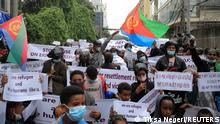 Eritrean Refugees protest in-front of the United Nations High Commissioner for Refugees (UNHCR) offices to condemn the attacks on the refugees in Hitsats and Shimelba camps during the fight between Ethiopia's National Defence Force and Tigray People Liberation Front