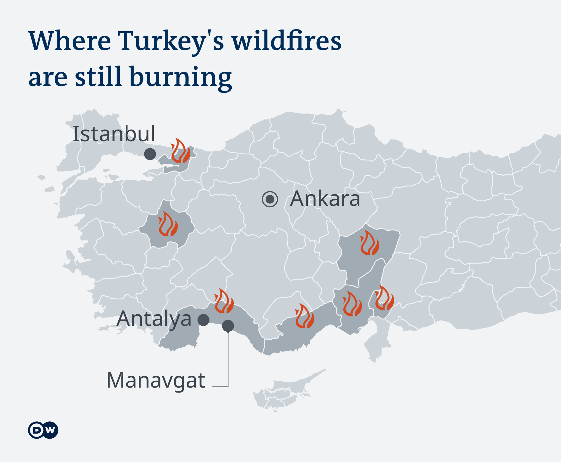 A map showing the ongoing fires in Turkey