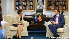 Pressekonferenz der Außenminister von Kosovo Donika Gervalla- Schwarz und des Nordmazedoniens Bujar Osmani. Am 30.07.2021 in Skopie.