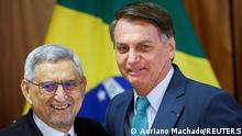 Brazil's President Jair Bolsonaro greets Cabo Verde's President Jorge Carlos Fonseca as he makes a statement to the press at the Planalto Palace in Brasilia, Brazil, July 30, 2021. REUTERS/Adriano Machado
