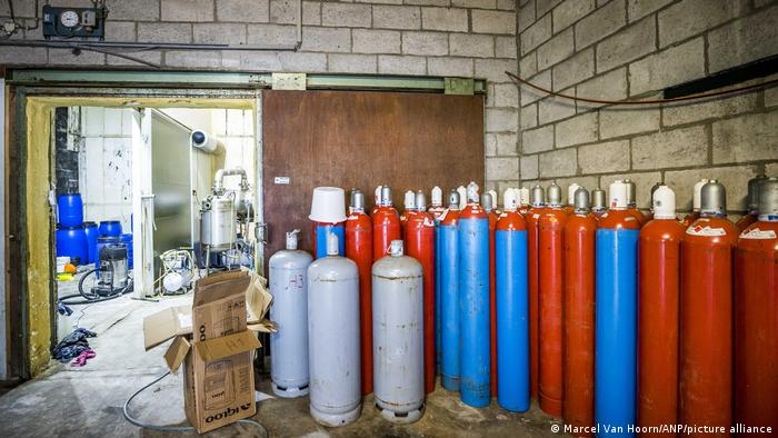 Canisters stand in a room that was part of a large crystal meth lab in the Netherlands