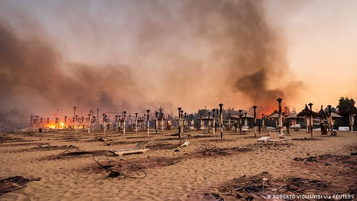 fire at beach in Catania, Sicily