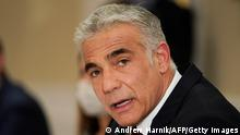Israeli Foreign Minister Yair Lapid meets with Secretary of State in Rome, on June 27, 2021. - Israel's new foreign minister in his first meeting with the United States voiced concern on June 27, 2021 about talks on Iran but pledged a more cooperative approach with the Jewish state's closest ally. (Photo by Andrew Harnik / POOL / AFP) (Photo by ANDREW HARNIK/POOL/AFP via Getty Images)