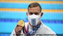 July 31, 2021, Koto, Tokyo, Japan: Caeleb DRESSEL of the United States wins the Gold Medal during the Men's 100m butterfly final at the Tokyo Aquatics Centre on July 31st 2021 in Tokyo, Japan (Credit Image: © Mickael Chavet via ZUMA Press Wire