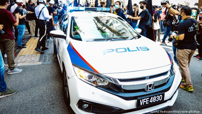 A police car in Kuala Lumpur during an anti-government protest.