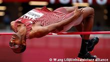 (210730) -- TOKYO, July 30, 2021 (Xinhua) -- Mutaz Essa Barshim of Qatar competes during the men's high jump qualification at Tokyo 2020 Olympic Games, in Tokyo, Japan, July 30, 2021. (Xinhua/Wang Lili)