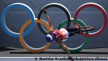 TOKYO, JAPAN - AUGUST 1, 2021: Venezuela's Daniel Dhers competes to win silver in the men's Freestyle BMX Park final at Ariake Sports Park during the 2020 Summer Olympic Games. Stanislav Krasilnikov/TASS