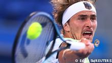 Tokyo 2020 Olympics - Tennis - Men's Singles - Gold medal match - Ariake Tennis Park - Tokyo, Japan - August 1, 2021. Alexander Zverev of Germany in action during his gold medal match against Karen Khachanov of the Russian Olympic Committee REUTERS/Edgar Su