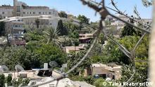 In dieser Straße in Sheikh Jarrah sind mehrere Familien von einer Zwangräumung bedroht. Zeitweise sperrt die israelische Polizei die Strasse ab. east Jerusalem, 01.08.2021 Sheikh Jarrah neighborhood via Taina Kraemer