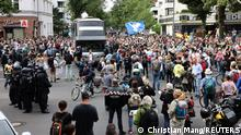 Demonstrators attend a protest against government measures to curb the spread of coronavirus disease (COVID-19) in Berlin, Germany August 1, 2021. REUTERS/Christian Mang