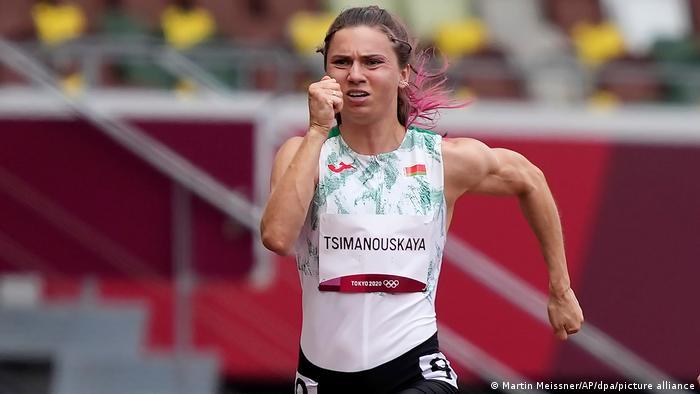 Tsimanouskaya runs the 100-meter in the Tokyo Games