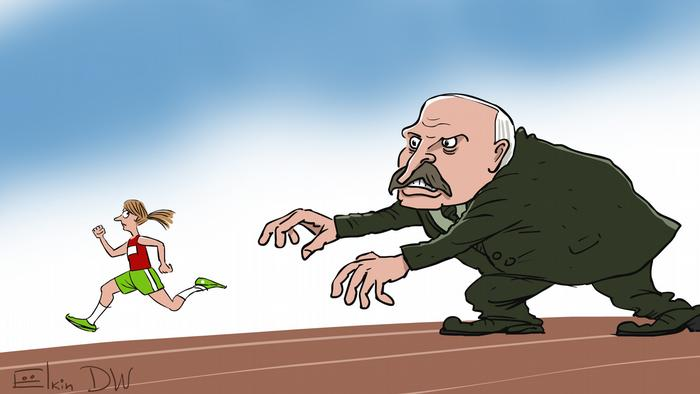 Karikatur Sergey Elkin Sportlerin Timanowskaja Belarus