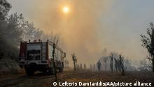 RODOS, GREECE - AUGUST 02: Firefighter team battle against the forest fires in the isle of Rodos, Dodecanese, Greece on August 02, 2021. LEFTERIS DAMIANIDIS / Anadolu Agency
