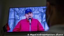 Daniel Ortega gives a speech