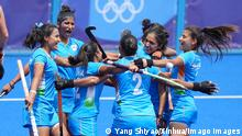 210802 -- TOKYO, Aug. 2, 2021 -- Players of India celebrate after the women s quarterfinal of hockey between Australia and India at the Tokyo 2020 Olympic Games, Olympische Spiele, Olympia, OS in Tokyo, Japan, Aug. 2, 2021. TOKYO2020XHTP-JAPAN-TOKYO-OLY-HOCKEY-WOMEN S QUARTERFINAL-AUS VS IND YangxShiyao PUBLICATIONxNOTxINxCHN