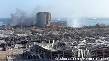 A destroyed silo is seen amid the rubble and debris aftermath of a massive explosion in Lebanon's capital Beirut, on Wednesday, August 5, 2020. Rescuers worked through the night after two enormous explosions ripped through Beirut's port on August 4, killing at least 100 people and injuring thousands. The cause of the explosion is suspected to be the improper storage of ammonium nitrate. Photo by Ahmad Terro/UPI Photo via Newscom picture alliance