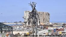 BEIRUT, LEBANON - AUGUST 02: a view of a 25-metre-tall steel sculpture dubbed The Gesture by Lebanese artist Nadim Karam, made from debris resulting from the aftermath of the blast at the port of Lebanon's capital Beirut that took place on August 4, 2020, in Beirut, Lebanon on August 02, 2021. Houssam Shbaro / Anadolu Agency