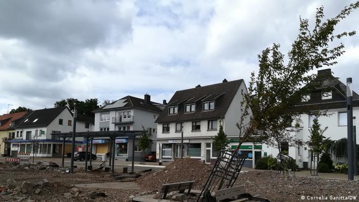 Germany, flood destroyed the forecourt of Kall station, Eifel