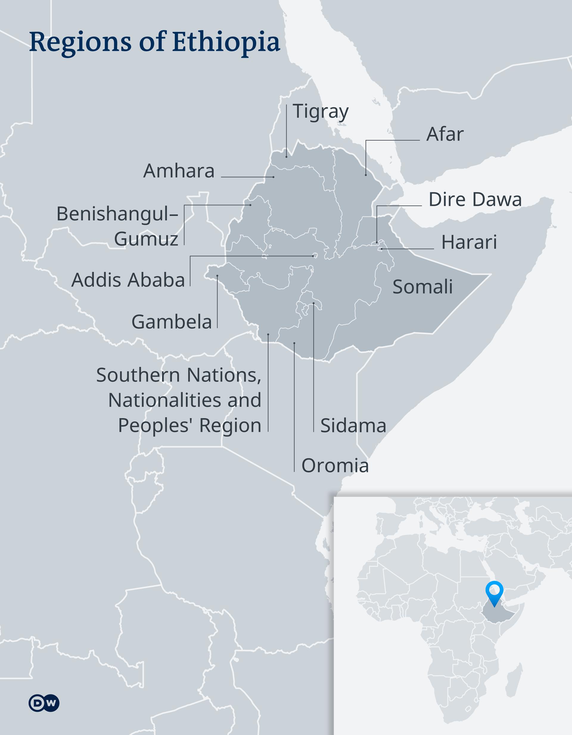 Map of Ethiopia's regions
