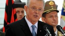 New Hungarian President Pal Schmitt speaks during his inauguration ceremony at the presidential residence, the Alexander Palace in Budapest, Hungary, Friday, August 6, 2010. (AP Photo/MTI, Szilard Koszticsak)