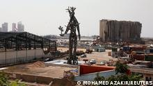 The Gesture, a 25-meter sculpture by Lebanese architect Nadim Karam to commemorate victims of last year's Beirut blast, is seen at the capital's port in Lebanon, July 30, 2021. Picture taken July 30, 2021. REUTERS/Mohamed Azakir