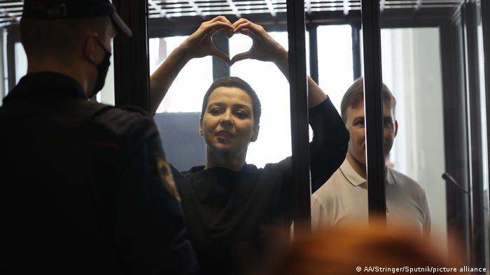 María Kolesnikova durante una de las audiencias de la Corte que la condenó. Aquí el 4 de agosto de 2021