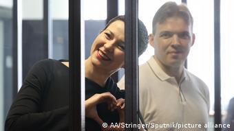 Мария Колесникова и Максим Знак на судебном заседании 4 августа 2021 года