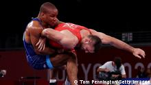CHIBA, JAPAN - AUGUST 03: Ivan Huklek of Team Croatia competes against Zhan Beleniuk of Team Ukraine during the Men's Greco-Roman 87kg Semi Final on day eleven of the Tokyo 2020 Olympic Games at Makuhari Messe Hall on August 03, 2021 in Chiba, Japan. (Photo by Tom Pennington/Getty Images)