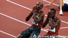 Tokyo 2020 Olympics - Athletics - Men's 800m - Final - Olympic Stadium, Tokyo, Japan - August 4, 2021. Emmanuel Kipkurui Korir of Kenya celebrates winning gold with Ferguson Rotich of Kenya who won silver REUTERS/Phil Noble