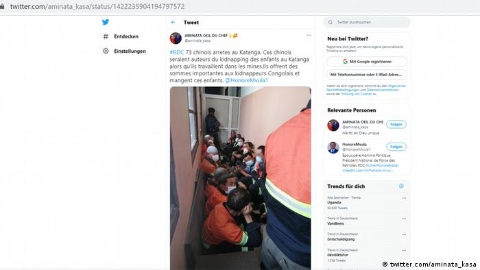 Screenshot Twitter Aminata Kasa DR Kongo