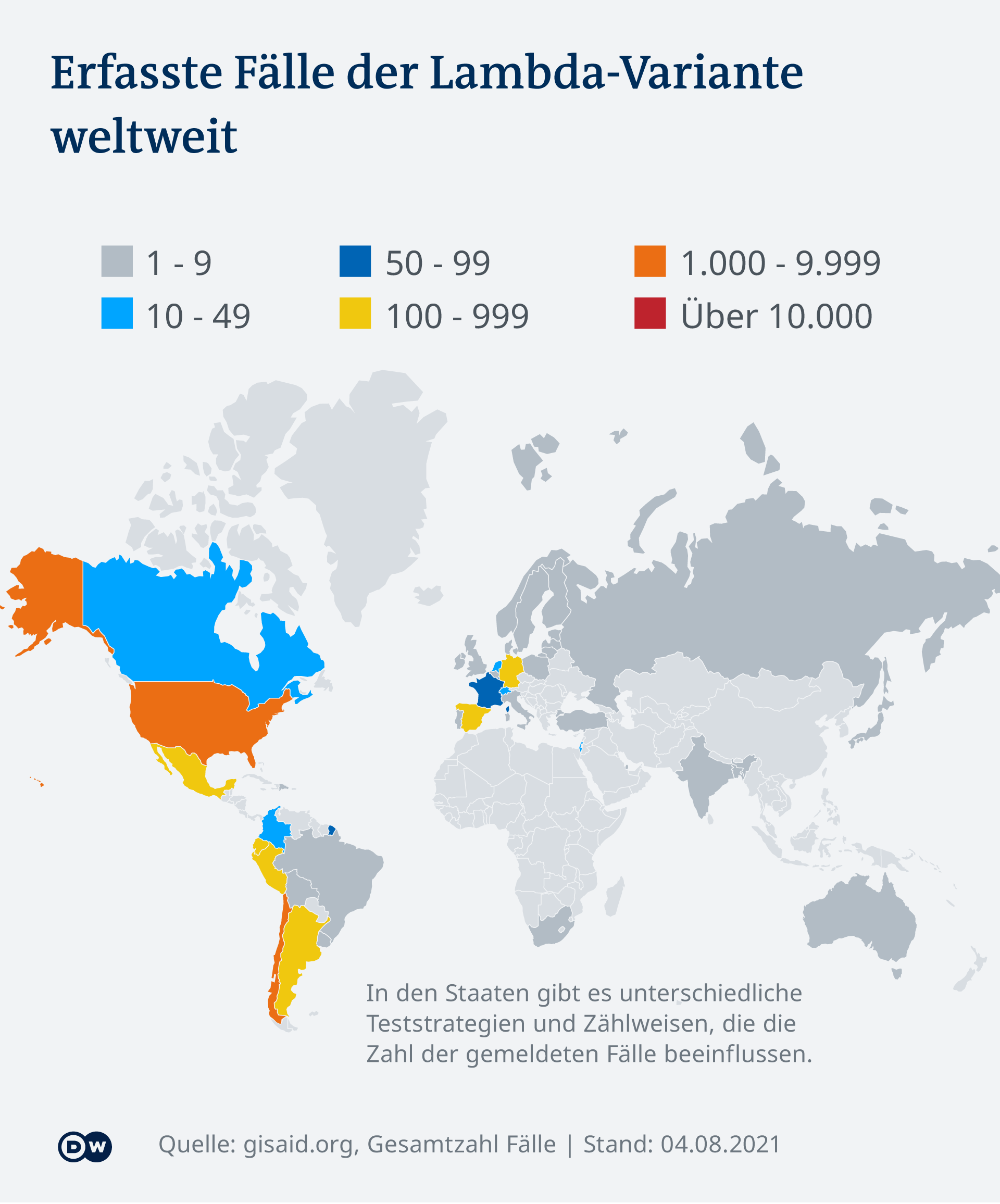 Infografik Weltweite Verbreitung der Lambda-Variante
