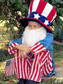 Young man dressed up as Uncle Sam