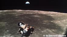 La etapa de ascenso del Apolo 11, fotografiada desde el módulo de mando en órbita alrededor de la Luna.