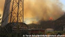 6617974 04.08.2021 In this handout video grab a wildfire rages near the Yenikoy thermal power plant in the district of Turkevler, a suburb of Bodrum, Turkey. Firefighters are still unable to bring under control strong forest fires in the area of the Turkish resorts of Marmaris and Bodrum. Turan Salcı / Sputnik