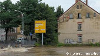 The Neisse River overflowing in the town of Zittau on Saturday