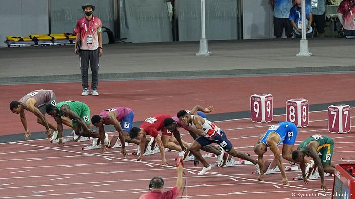 Zharnel Hughes false starts in the men's 100-meter final of the Tokyo Olympics