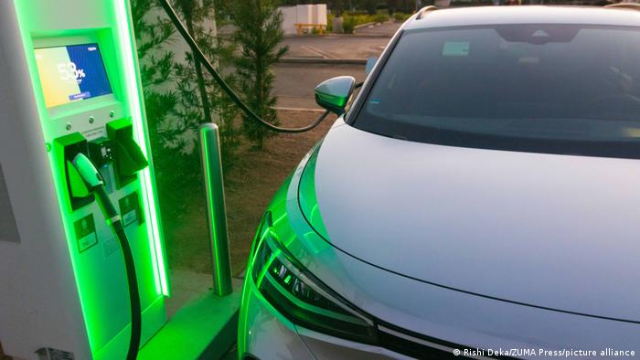An electric vehicle charging in San Diego, US