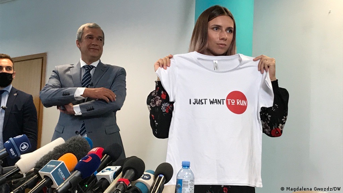 Павел Латушко и Кристина Тимановская на пресс-конференции в Варшаве