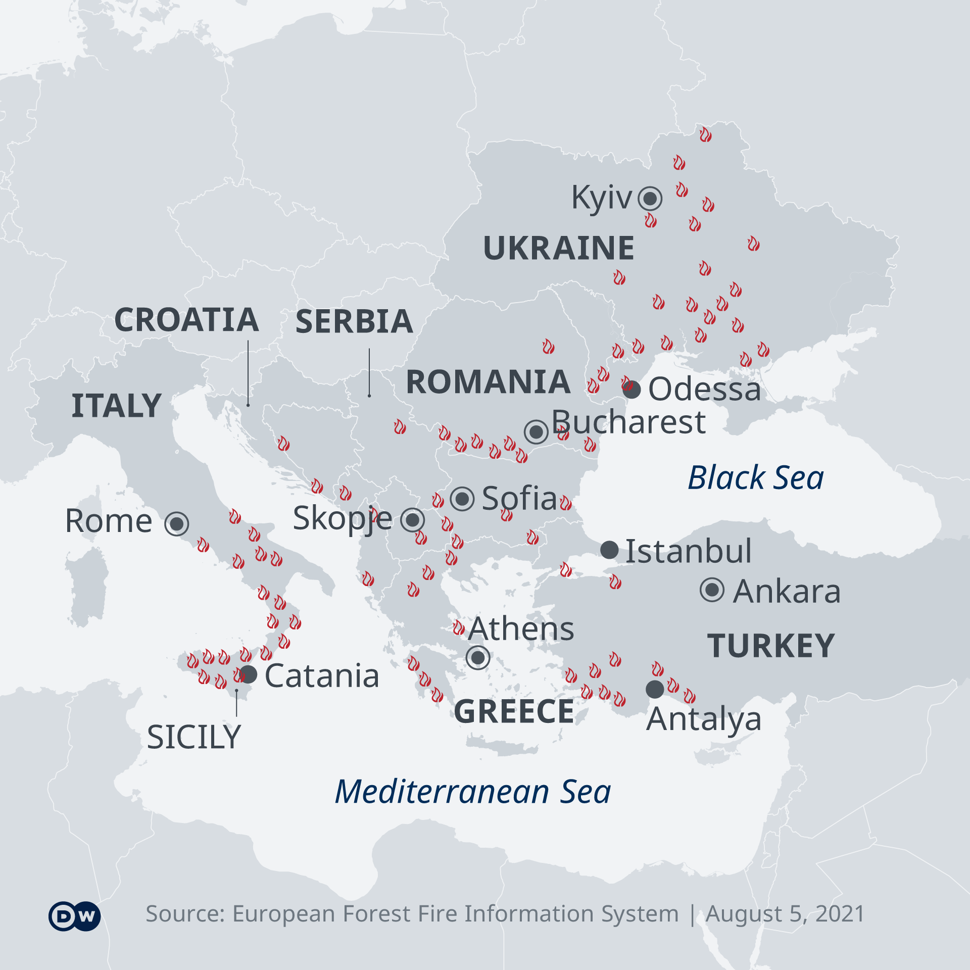 A map of southern and eastern Europe with fire markers