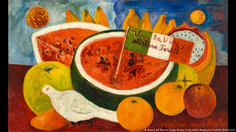 Vivid painting by Frida Kahlo depicting a white dove, an assortment of fruits and a Mexican flag