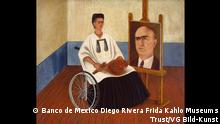 ***ACHTUNG: Bild nur nur zur vom Rechteinhaber freigegebenen Berichterstatung verwenden!*** via brenda.asirvadappan@dw.com Self-portrait (with Dr. Farill), 1951 Weeping Coconuts, c. 1951 Oil on masonite, 41.5 x 50 cm (163⁄8 x 19. in.) Private collection, courtesy Hauser & Wirth Collection Services Photo credit: Rafael Doniz Copyright: © Banco de Mexico Diego Rivera Frida Kahlo Museums Trust/VG Bild-Kunst, Bonn 2021; reproduction authorized by the Instituto Nacional de Bellas Artes y Literatura, 2021