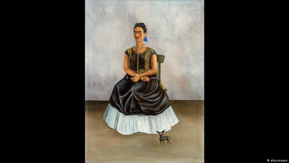 Painting of Frida Kahlo sitting and dressed in dark clothes with a small dog next to her