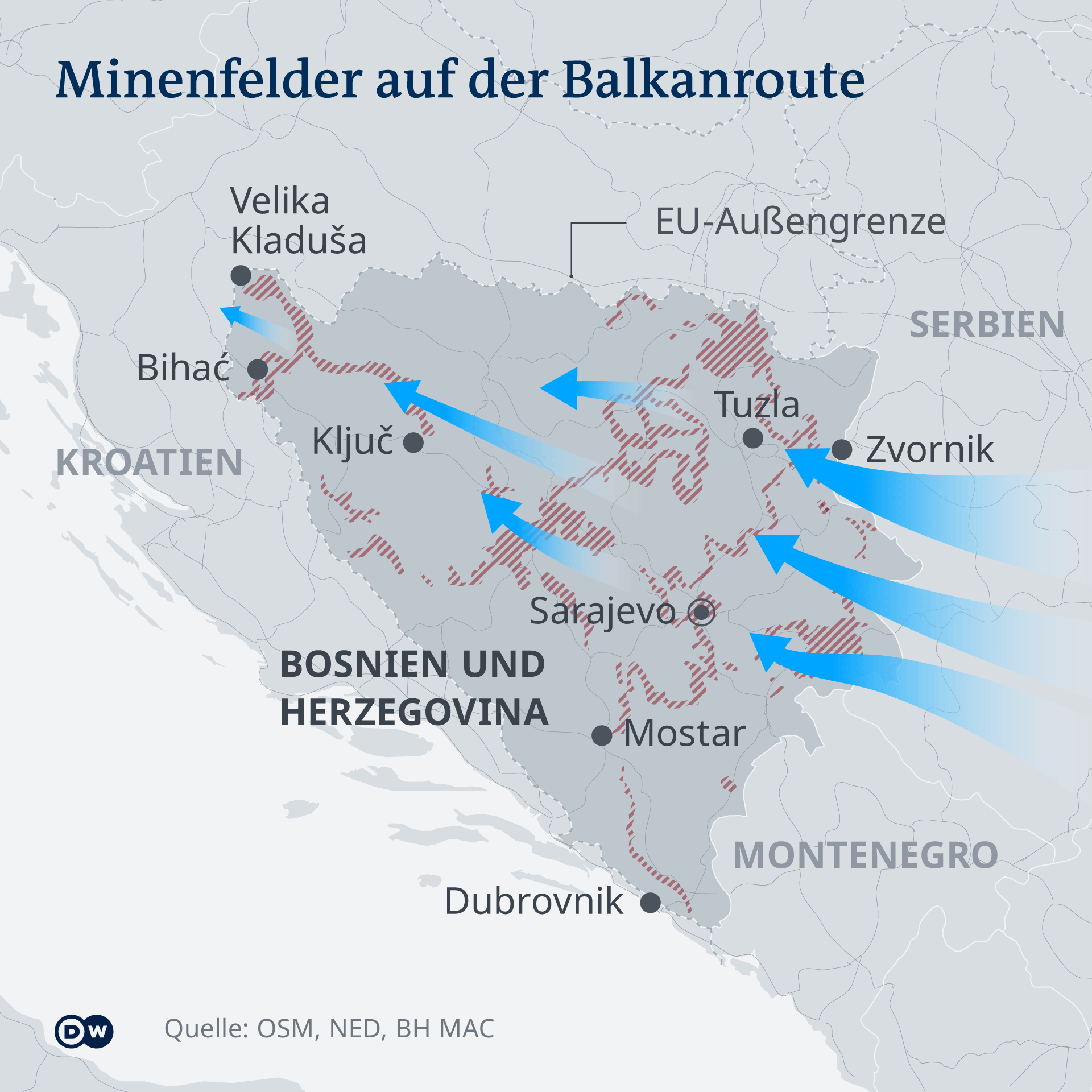Grafik - Minenfelder auf der Balkanroute - DE