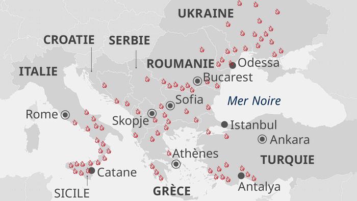 براساس نقشه مرکز اطلاعرسانی آتشسوزی در جنگلهای اروپا مربوط به روز پنجشنبه ۶ اوت، دهها آتشسوزی جنگلهای کشورهای اوکراین، ترکیه، رومانی، صربستان، کرواسی، آلبانی، یونان، مقدونیه شمالی و ایتالیا را فرا گرفته است.