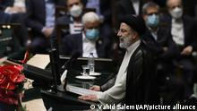 President Ebrahim Raisi delivers a speech after taking his oath as president in a ceremony at the parliament in Tehran, Iran, Thursday, Aug. 5, 2021. The inauguration of Raisi, a protégé of Iran's supreme leader, completes hard-liners' dominance of all branches of government in the Islamic Republic. (AP Photo/Vahid Salemi)