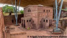 16/10/2020 Biete Meskel, English name House of the Cross, Orthodox underground monolith church carved into rock. UNESCO World Heritage Site, Lalibela Ethiopia, Africa