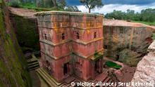 25/03/2020 Monolithic rock-cut Church of Bete Giyorgis or St. George, UNESCO World Heritage Site, Lalibela, Amhara region, Northern Ethiopia