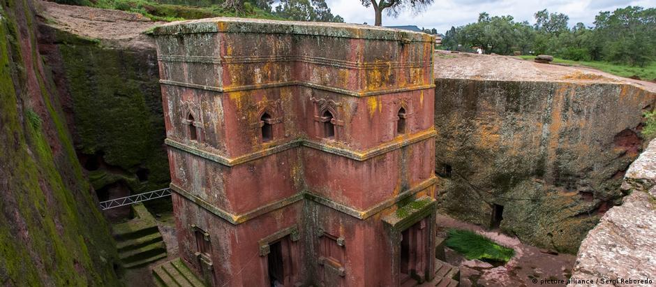 Äthiopien Lalibela | Orthodoxe unterirdische monolithische Kirche Bete Giyorgis